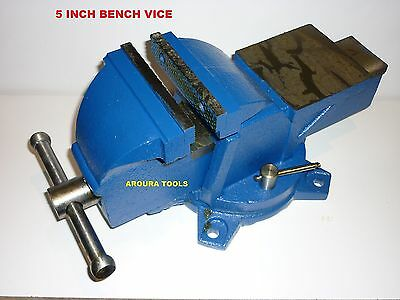 Vice Bench Type Swivel Base And Anvil 5 Inch Wide Jaws- New In Box