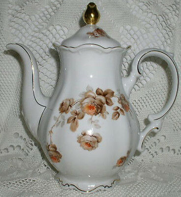 """Mitterteich Norway Rose Germany Coffee Pot 11"""" high Excellent Condition"""