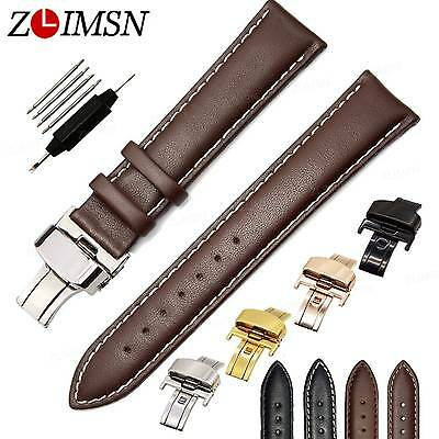 12~26mm Genuine Leather Watch Band Strap Deployment Clasp Stainless Steel Buckle
