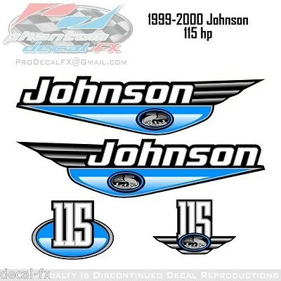 1999-2000 Johnson 115 HP Olympic Blue Outboard Reproduction 4 Piece Vinyl Decals