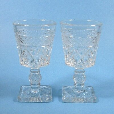 """Imperial Glass CAPE COD 4.5"""" Small Wine Sherry Glasses Set of 2 Clear"""