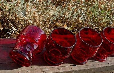 RUBY GLASS JUICE GLASSES BUY WHAT YOU WANT!! NICE WELL MADE HEAVY ONES