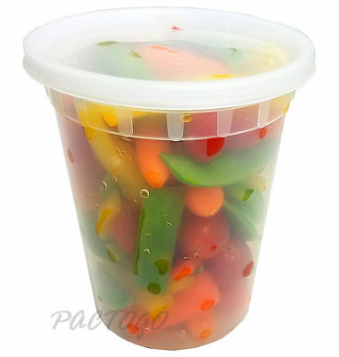 32 oz (Quart) Heavy Duty Freezer Food Storage Deli Container Tubs + Lids 240/CS