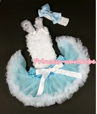 Newborn Light Blue White Baby Pettiskirt Skirt Tutu White Ruffle Top Set 3-12M