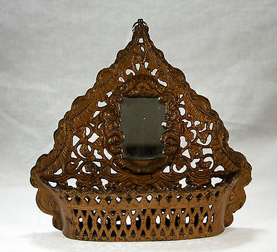 Antique Cast Iron Wall Pocket with Mirror c1890