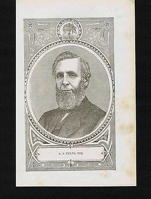 Amos S Evans-Merchant-Fort Wayne Indiana- 1876 Wood Engraved Print
