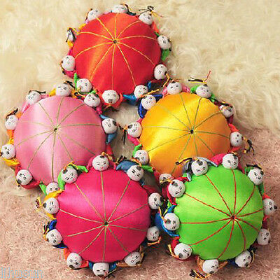 Wholesale5pcs Classic Chinese Handmade Vintage Silk Pin Cushion With10 Cute Kids