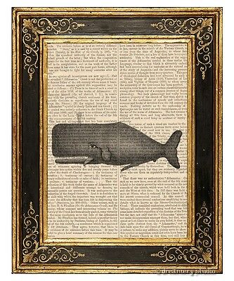 Whale Art Print on Vintage Book Page Home Office Hanging Decro Nautical Gifts