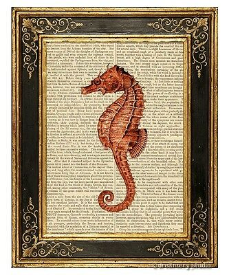 Red Sea Horse Art Print on Vintage Book Page Seahorse Sea Ocean Home Decor Gifts