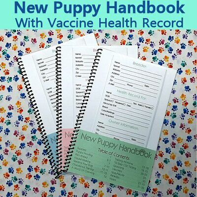 New Puppy Handbook - 32 Pg  Includes Canine  Dog  Puppy  Vaccine  Health  Record