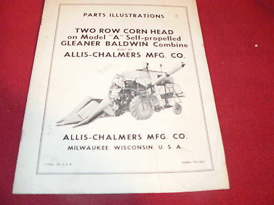 Allis Chalmers Gleaner A Combine Two Row Corn Head Dealer's Parts Book