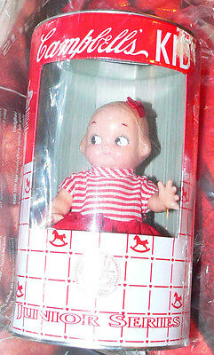 """6"""" Campbell's Kid Junior Series Horsman doll with red skirt c.1998 un-opened"""