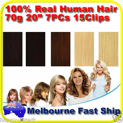 """New Clip in REMY Real Human Hair Extensions 20"""" 70g 7PCs on Black Brown Blonde"""