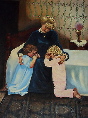 "VINTAGE OIL PAINTING MOTHER AND CHILDREN PRAYING 24"" x 20"""