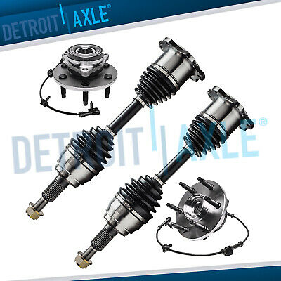 2 Front Left and Right CV Axle Shaft + 2 Wheel Hub & Bearing Assembly 6 Lug 4WD