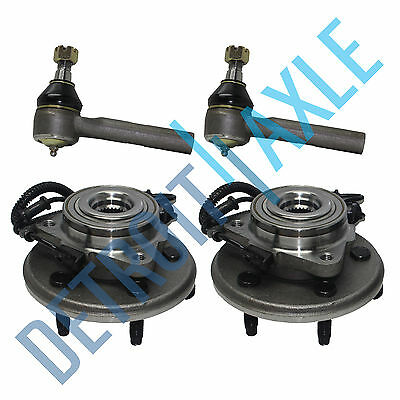 Set: 2 FRONT Wheel Hub Bearing - w/ ABS - RWD 4X4  + 2 Outer Tie Rod