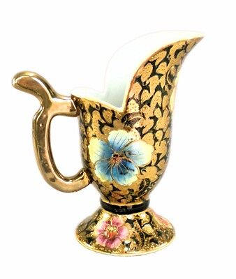 VTG GILDED ORIENTAL MORIAGE FLORAL PITCHER HAND PAINTED PORCELAIN UNKNOWN
