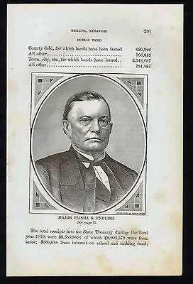 MAJOR ELISHA G. ENGLISH Indianapolis Indiana- 1876 Wood Engraved Print
