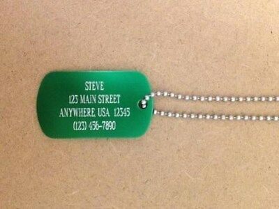Metal Aluminum Dog Tag With Chain Personalized Up To 4 Lines Each Side-Premium