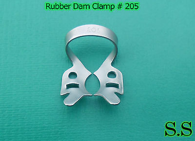 6 Endodontic Rubber Dam Clamp # 205 Surgical Dental Instruments
