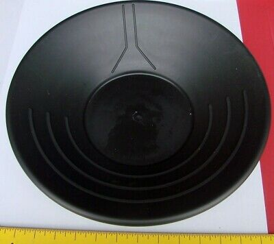 "Black Plastic Gold Pan Panning Prospecting New 14"" 3 Ridges Black"