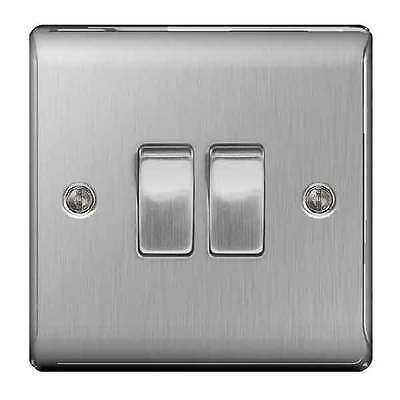 BG NBS42 Twin Light Switch Brushed Steel / Satin Chrome 10A 1 or 2 way