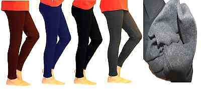 Kinder Leggings lang Thermo Baumwolle Fleece Futter warm Hose Röre blickdicht