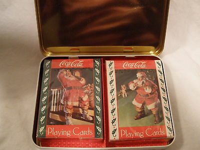 Coca-Cola Soda 1993 Santa Nostalgia Playing Cards (2 Decks) In Metal Box