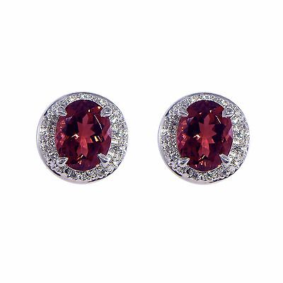 LXV Dazzlers Diamond and Pink Tourmaline Earrings set in 14k White Gold