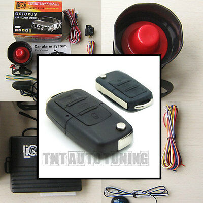 Car Alarm Security System + Remote Central Locking Kit VW Golf Audi A3 A4 FOBs