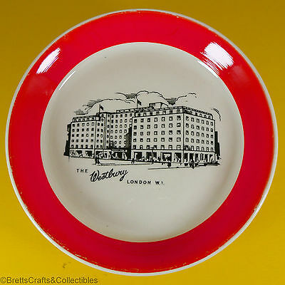 "Wade ""The Westbury Hotel"" - 1953/61 - Red Edge - Souvenir Plate/Dish - 4-3/8"""