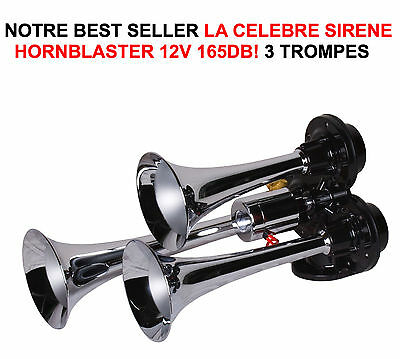 HORNBLASTER SIRENE AMERICAINE 3 TROMPES 165db! HARLEY BUELL DUCATI GOLDWING BMW
