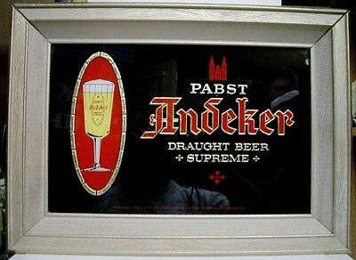 1950's Pabst Andecker Draught Beer Framed Glass Sign - Milwaukee, WI