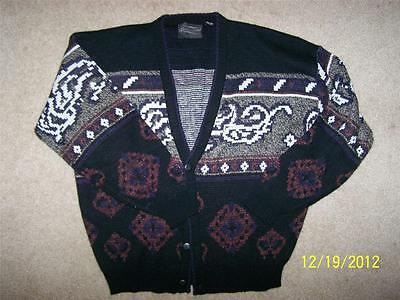 Vtg 80's Hipster Novelty Slouchy Rat Pack Cardigan Cardie Sweater Jumper Sz L
