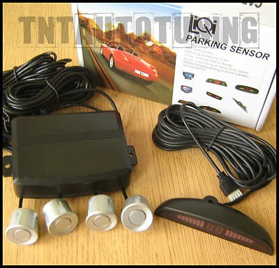 Reverse Parking Kit with 4 Grey / Silver Sensors - LED Display - Buzzer Alarm