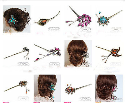 Wholesale10pcs Chinese Vintage Bronze Hair Clasp Hairpins with Colorful stone