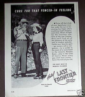 1947 vintage travel ad Hotel Last Frontier Las Vegas Nevada the Silver State