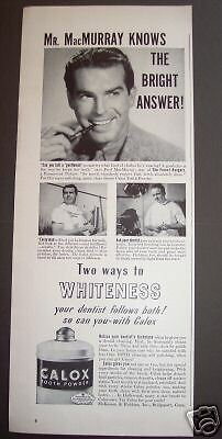 1942 vintage Ad FRED MacMURRAY Calox Tooth Powder