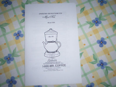 MRS TEA  by MR COFFEE Hot Tea Maker  INSTRUCTION MANUAL