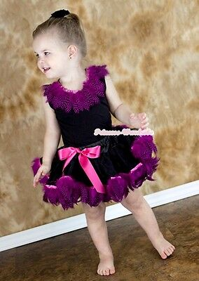 Black Hot Pink Peacock Feather Baby Pettiskirt Skirt Feather Black Top Set 3-24M