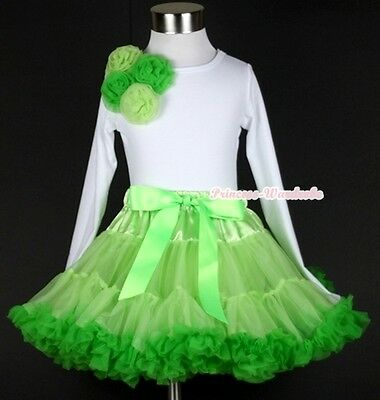 Bright Lime Green Pettiskirt Dress Bunch Bright Lime Green Rose White Top 1-8Y