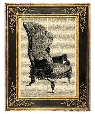 Armchair #2 Art Print on Vintage Book Page Home Office Decor Wall Hanging
