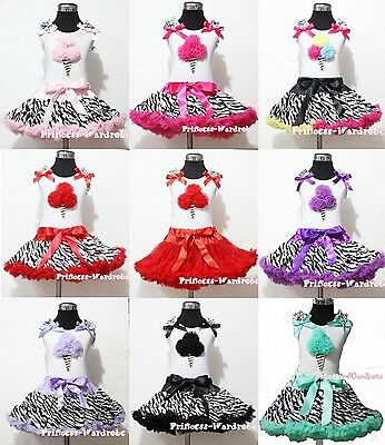 Premium Colorful Skirt White Pettitop Top ZEBRA ICE CREAM Ruffle Set 1-8Y