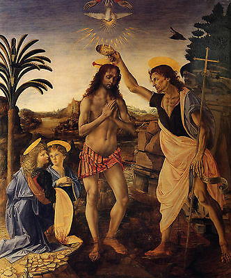 Baptism of Christ by Verrochio - Life of Jesus on Canvas