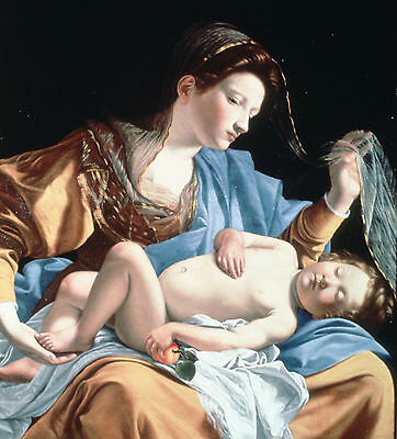 Madonna with sleeping christ child by Gentileschi- Life of Jesus on Canvas