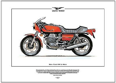 MOTO GUZZI 850 LE MANS - Motorcycle Art Print - Italian superbike of the 1970's