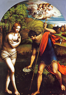 Baptism of Christ by Parmaiggani , Life of JESUS CHRIST  in Art on Canvas