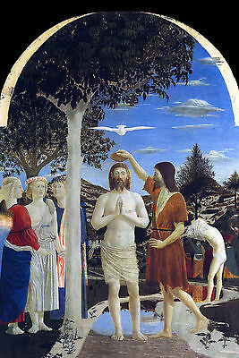 Baptism of Christ by Francesca- Life of JESUS in  Art on Canvas
