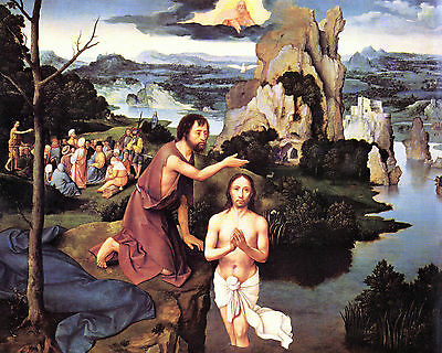 Baptism of Christ by Patinier- Life of JESUS in  Art on Canvas