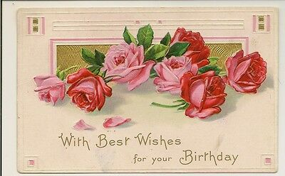 Pink Red Rose Birthday Wishes Postcard